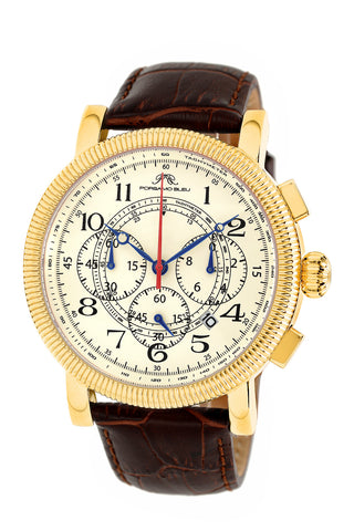 Porsamo Bleu Phileas luxury chronograph men's watch, genuine leather band gold, brown 471BPHL