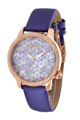 Porsamo Bleu Evelyn luxury topaz women's watch, satin genuine leather band, rose, purple 763CEVL