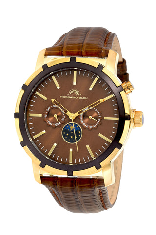 Porsamo Bleu NYC Moon luxury men's watch, genuine leather band, gold, brown 057CNYL