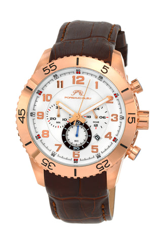 Porsamo Bleu Tristan luxury chronograph men's watch, genuine leather band, rose, brown 592BTRL