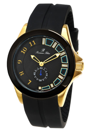 Porsamo Bleu Soho luxury men's watch, silicone strap, gold, black 043BSOR