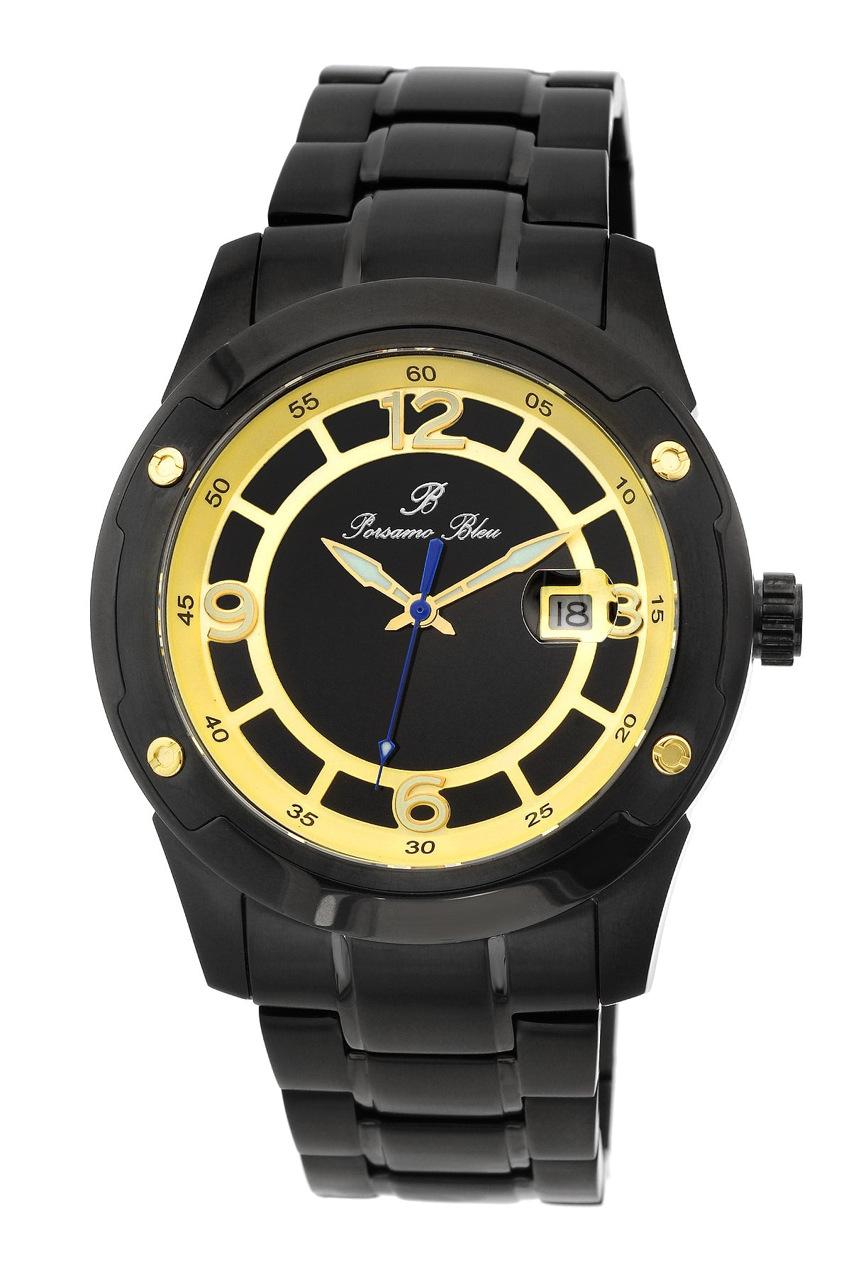 Porsamo Bleu Tokyo luxury Automatic men's stainless steel watch, gold, black 174ATOS