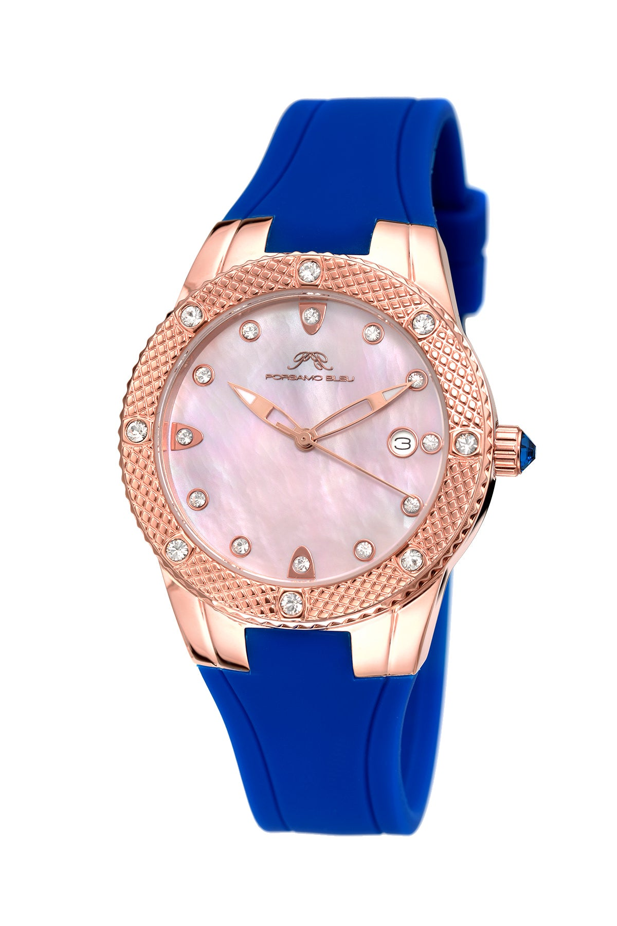 Porsamo Bleu Linda luxury women's watch, silicone strap, rose, blue 492CLIR