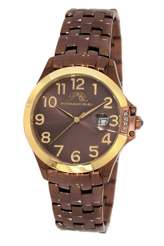Porsamo Bleu Olivia luxury women's stainless steel watch, gold, brown 983BOLS