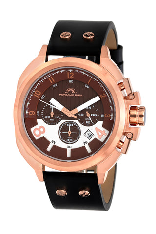 Porsamo Bleu Connor luxury chronograph men's watch, genuine leather band, rose, black 422CCOL