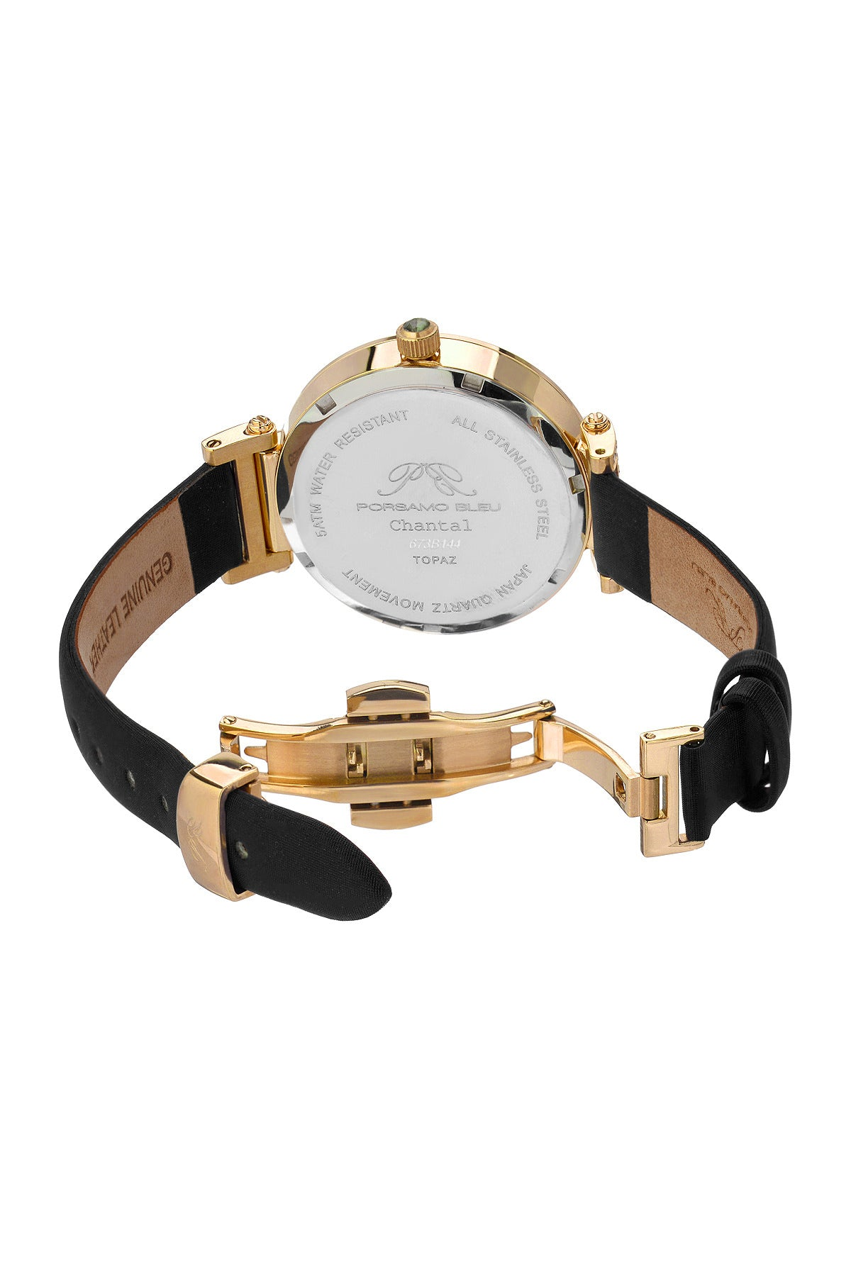 Porsamo Bleu Chantal luxury topaz womens watch satin covered genuine leather gold black 673BCHL