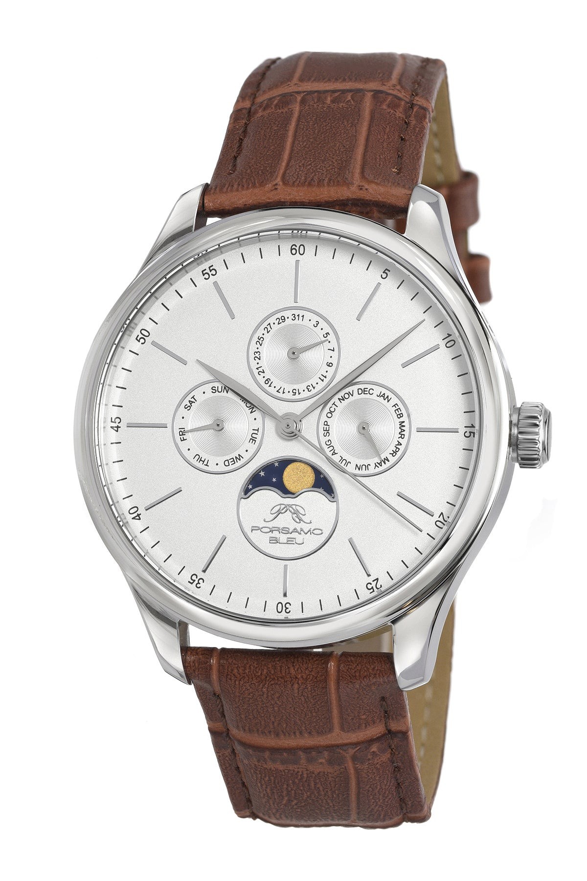 Porsamo Bleu Jonathan luxury men's watch genuine leather band, silver, brown, 911FJOL