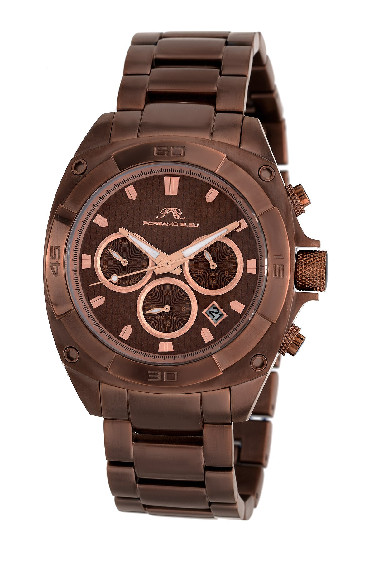 Porsamo Bleu Alex luxury men's stainless steel watch, brown 291DALS