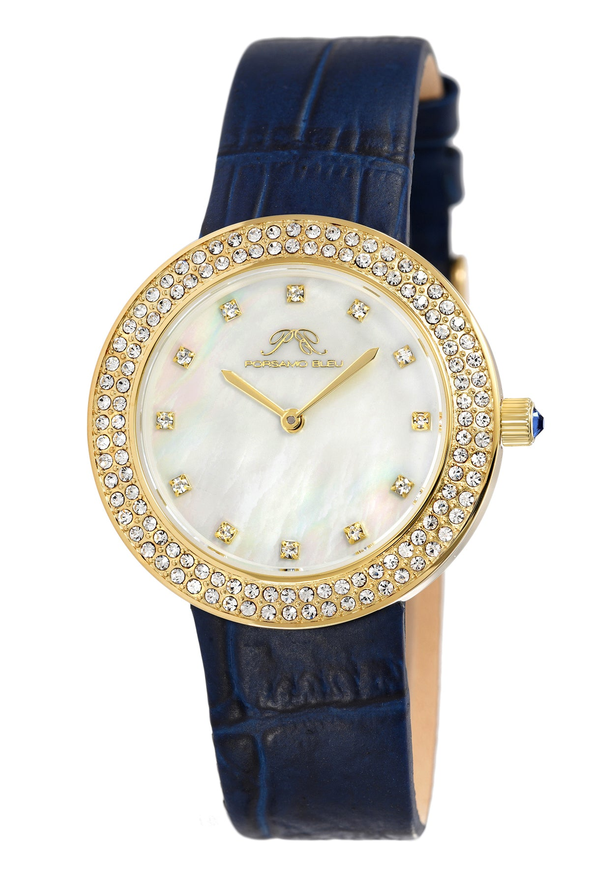 Porsamo Bleu Larissa luxury women's watch, genuine leather band, crystal inlaid bezel, white, gold, blue 892BLAL