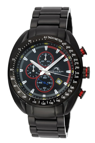 Porsamo Bleu Julien luxury  chronograph men's stainless steel watch, black, red 272AJUS