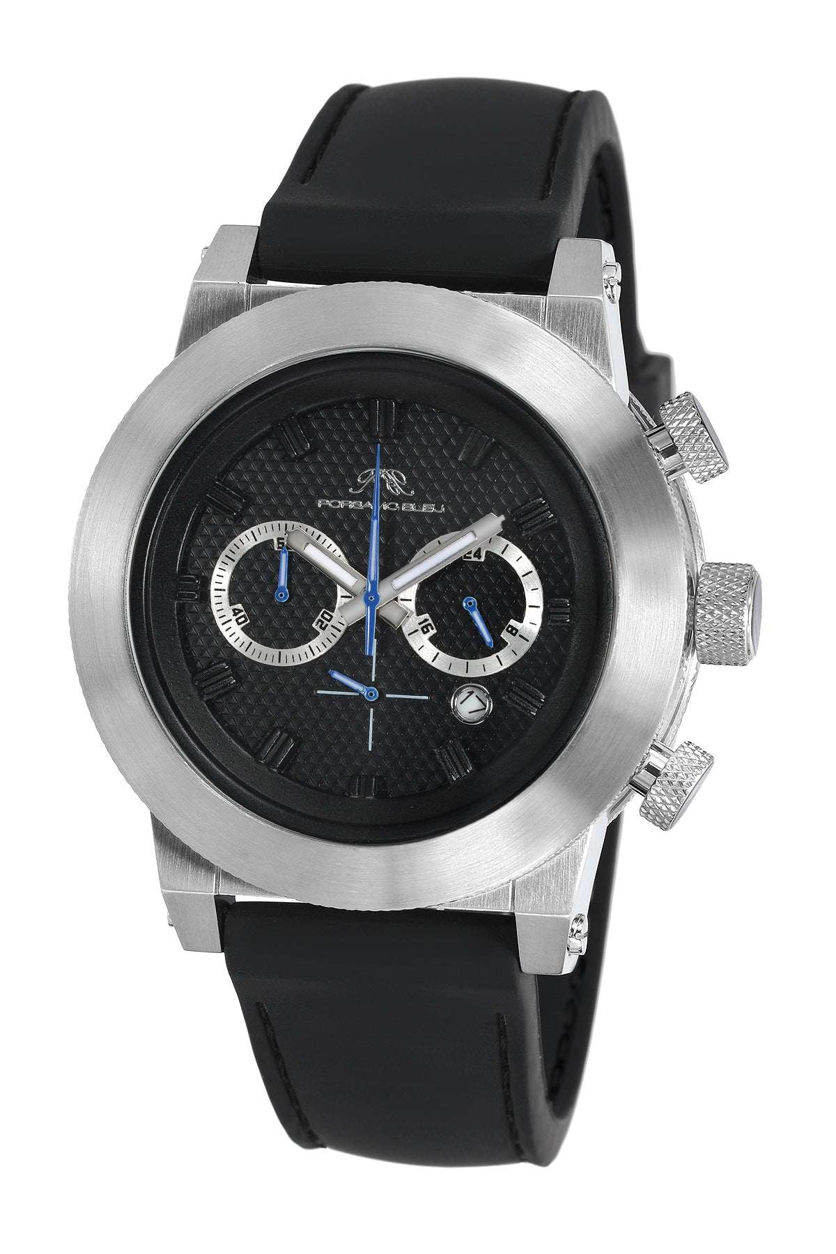 Porsamo Bleu Finley luxury chronograph men's watch, silicone strap, silver, black 401BFIR
