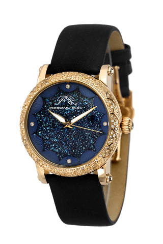 Porsamo Bleu Genevieve luxury topaz women's satin leather watch, gold, blue, black 682BGEL