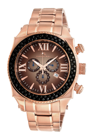 Porsamo Bleu Milan G Noir luxury chronograph men's stainless steel watch, rose, black 073DMIS