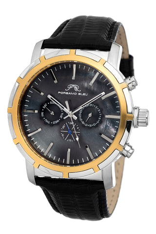 Porsamo Bleu NYC luxury men's watch, genuine leather band, silver, gold, black 051DNYL