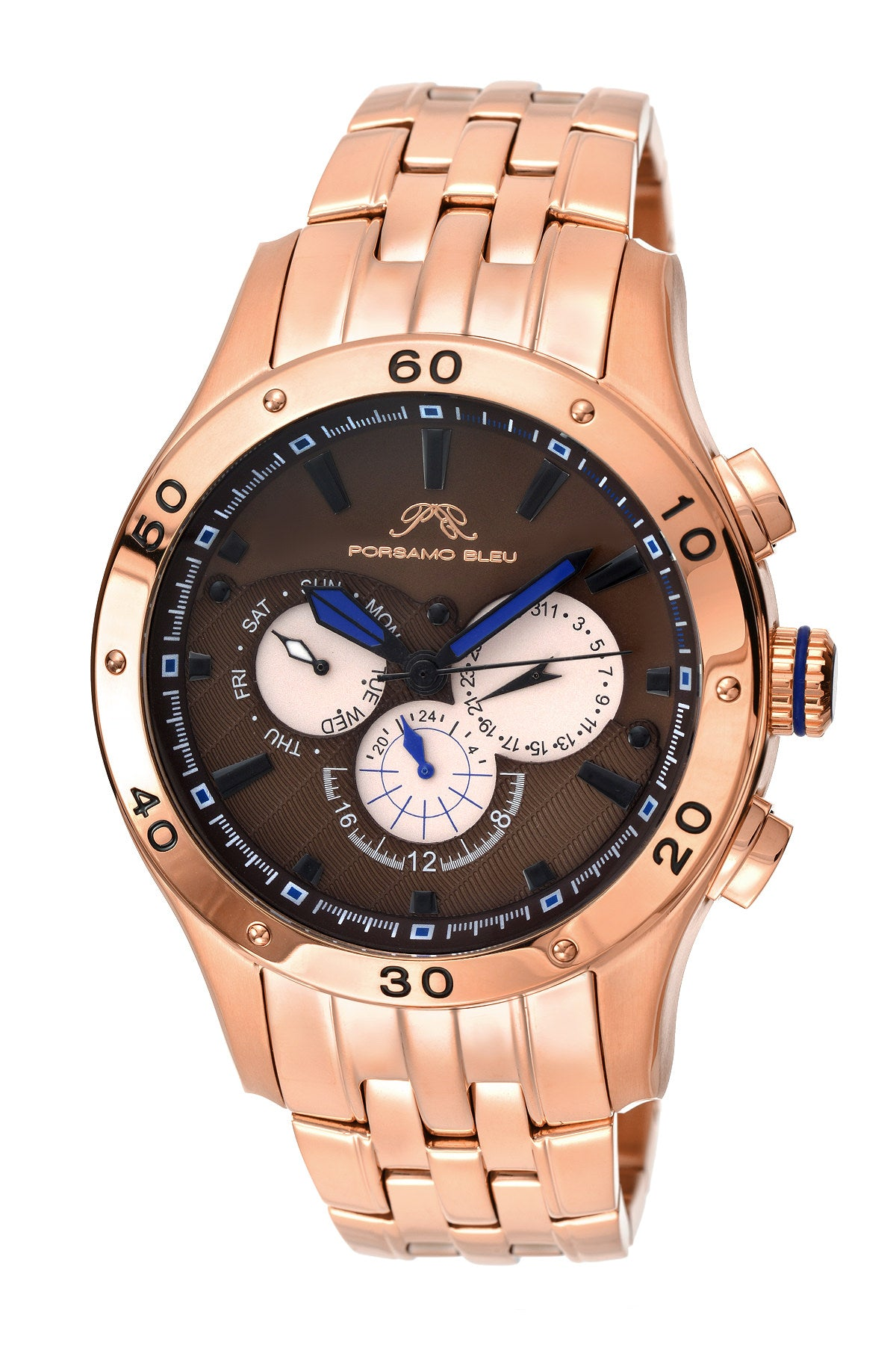 Porsamo Bleu, re luxury men's stainless steel watch, rose, brown 221CANS