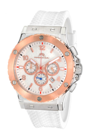 Porsamo Bleu Marcus luxury chronograph men's watch, silicone strap, rose, white 653AMAR