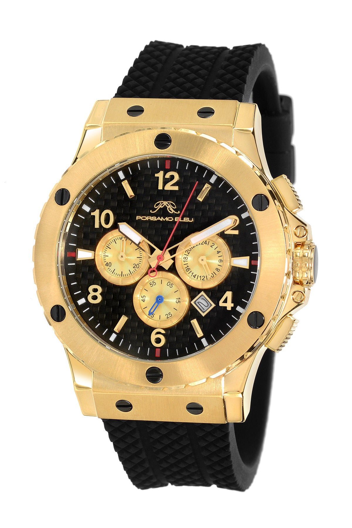 Porsamo Bleu Marcus luxury chronograph men's watch, silicone strap, gold, black 652AMAR