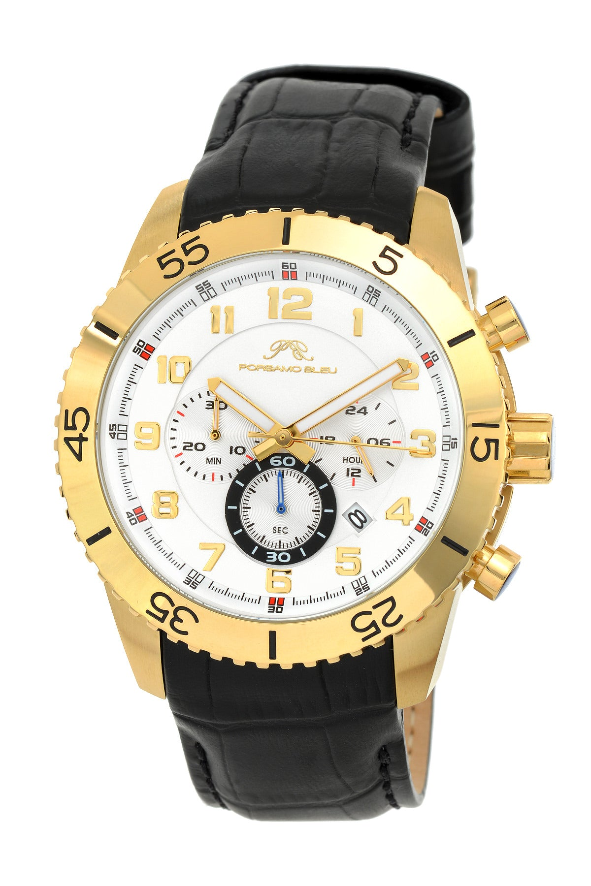 Porsamo Bleu Tristan luxury chronograph men's watch, genuine leather band, gold, black 591BTRL