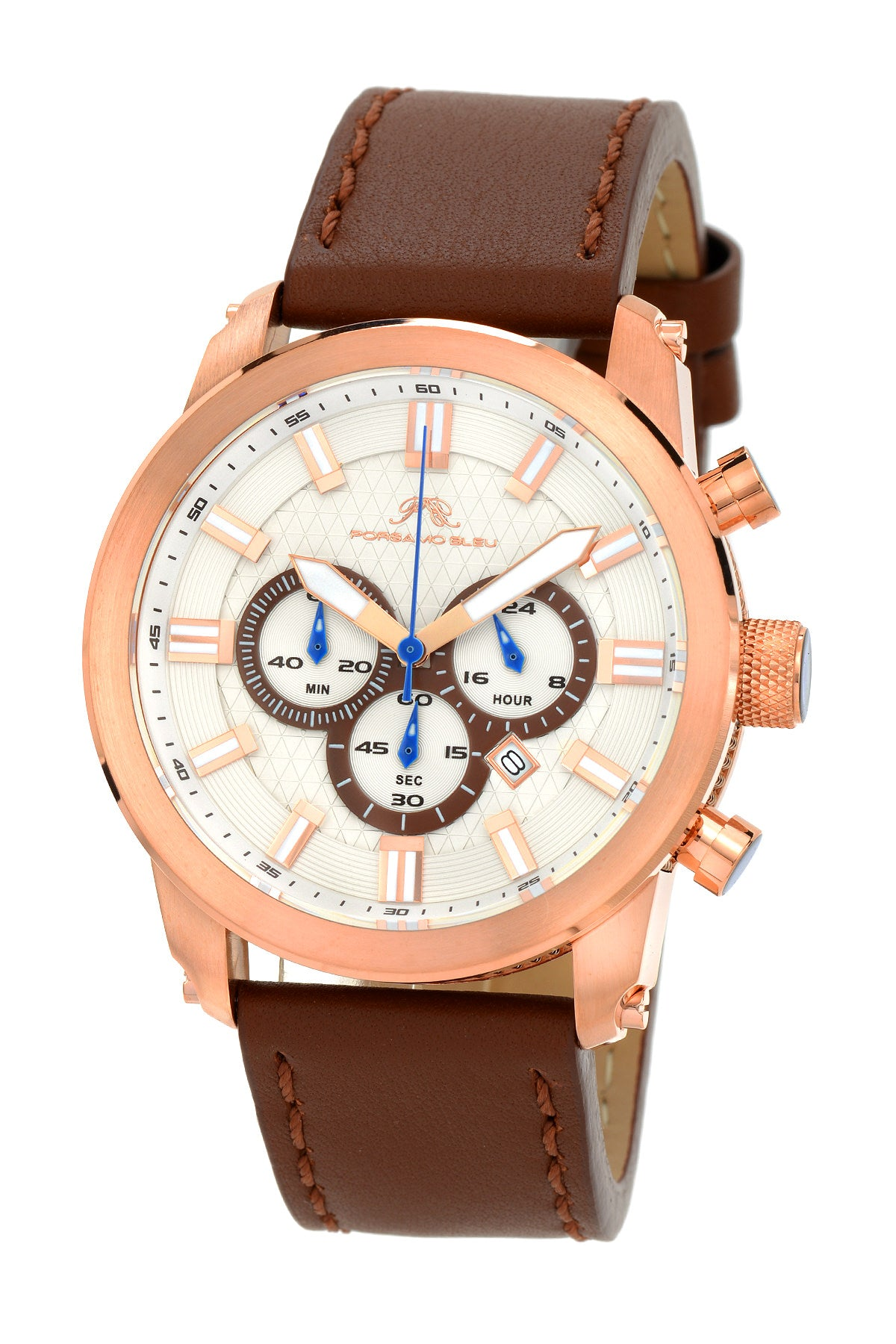 Porsamo Bleu Demetrios luxury chronograph men's watch, genuine leather band, rose, brown 602CDEL