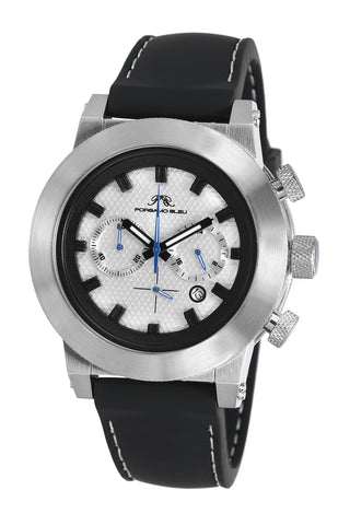 Porsamo Bleu Finley luxury chronograph men's watch, silicone strap, silver, black, white 401AFIR