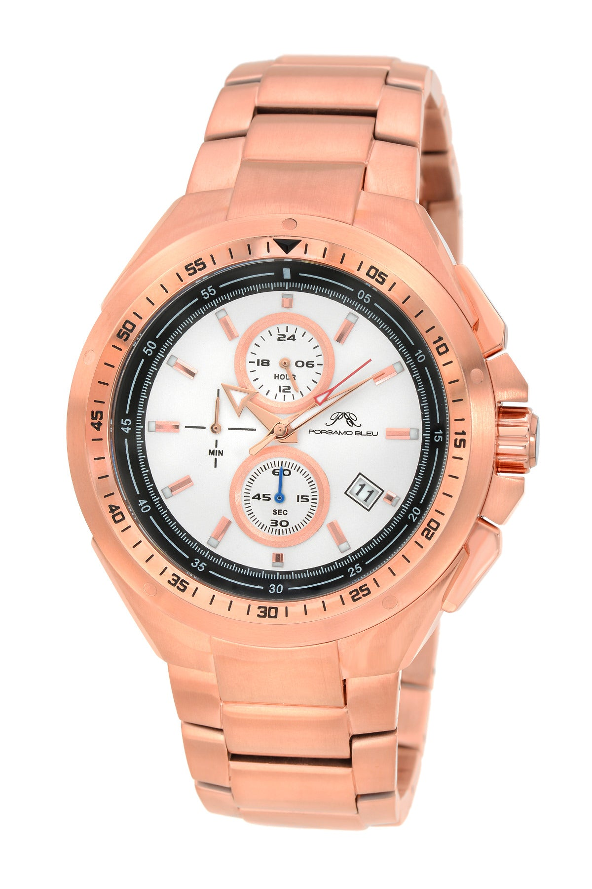 Porsamo Bleu Damien luxury chronograph men's stainless steel watch, rose 311CDAS