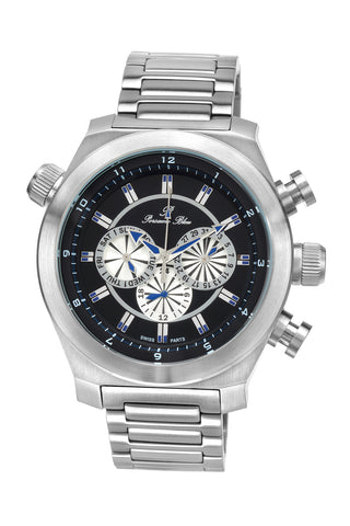 Porsamo Bleu Sydney luxury men's stainless steel watch, silver, black 163ASYS