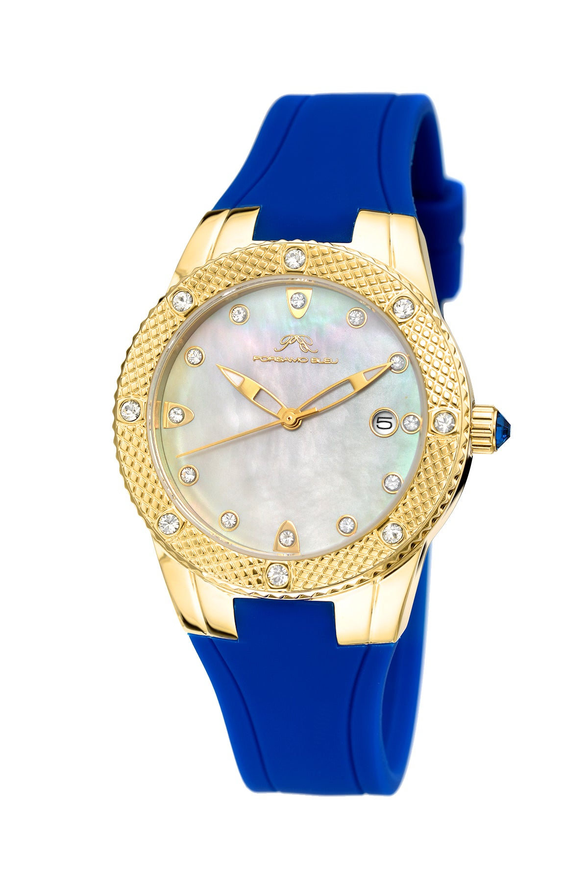 Porsamo Bleu Linda luxury women's watch, silicone strap, gold, blue 492BLIR