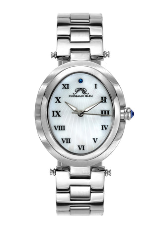 Porsamo Bleu South Sea Oval luxury women's stainless steel watch, silver 105ESSO