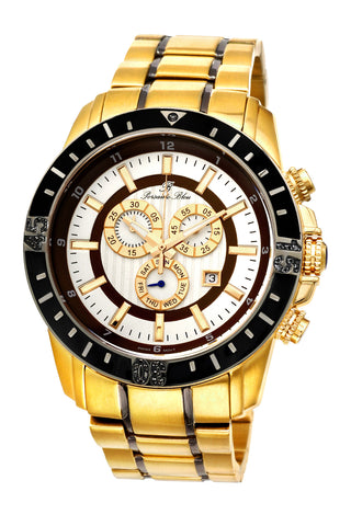 Porsamo Bleu Grand Prix noir luxury chronograph men's stainless steel watch, gold, black 093BGPS