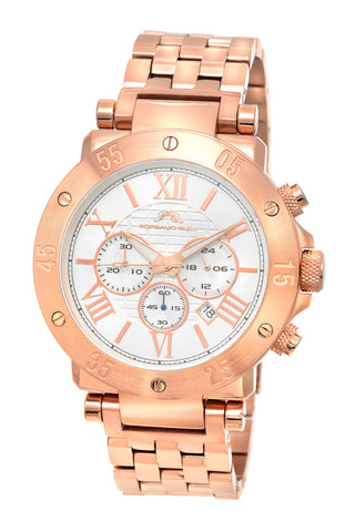Porsamo Bleu Roger luxury chronograph men's stainless steel watch, rose, white 581CROS