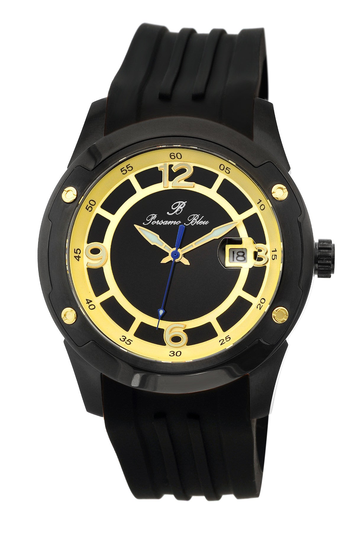 Porsamo Bleu Tokyo luxury Automatic men's watch, silicone strap, gold, black 172BTOR