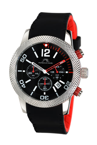 Porsamo Bleu Cameron luxury chronograph women's watch, silicone strap, silver, black, red 391BCAR