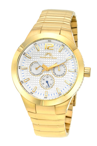 Porsamo Bleu Luca luxury men's stainless steel watch, gold, white 531BLUS