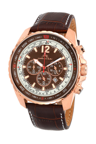 Porsamo Bleu Martin luxury  chronograph men's watch, genuine leather band, rose, brown 351AMAL