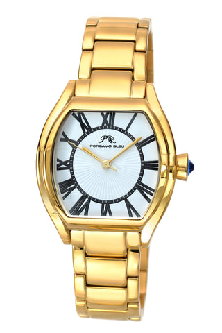 Porsamo Bleu Isabel luxury women's stainless steel watch, gold, white 182BISS