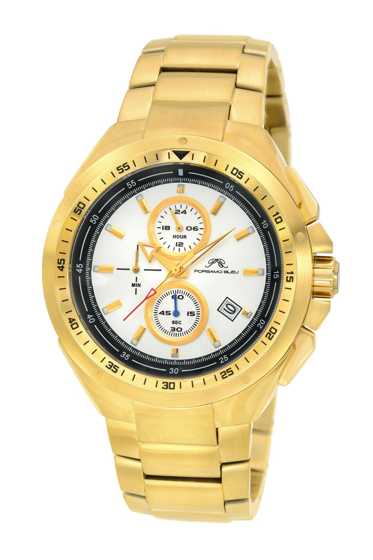 Porsamo Bleu Damien luxury chronograph men's stainless steel watch, gold 311BDAS