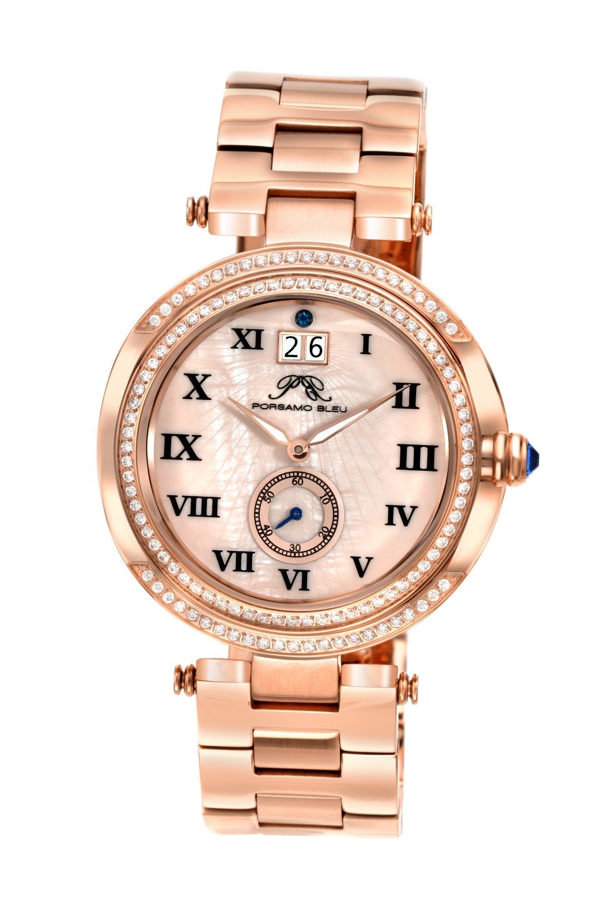 Porsamo Bleu South Sea Crystal luxury women's stainless steel watch, rose 104ASSC