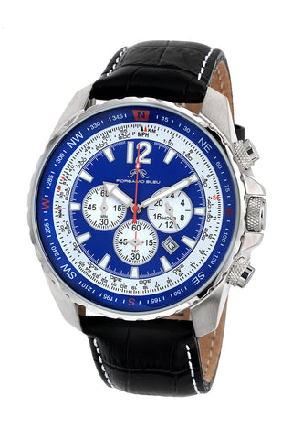 Porsamo Bleu Martin luxury  chronograph men's watch, genuine leather band, silver, black, blue 352AMAL