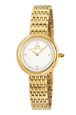 Porsamo Bleu Florentina luxury diamond women's stainless steel watch, white, gold 901BFLS