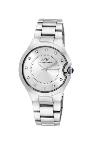 Porsamo Bleu Emilia luxury diamond women's stainless steel watch, silver 821AEMS