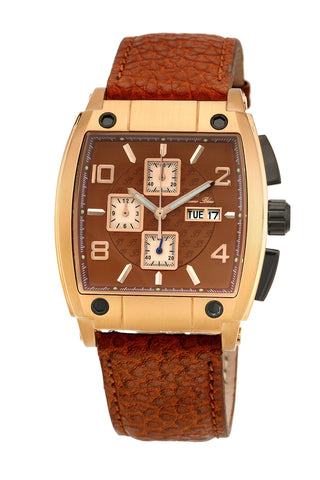 Porsamo Bleu London luxury chronograph men's watch, genuine leather band, rose, brown 142CLOL