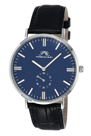 Porsamo Bleu Henry luxury men's watch, genuine leather band, silver, black, blue 842AHEL