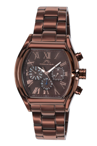 Porsamo Bleu Bruno luxury men's stainless steel watch, brown 202ABRS