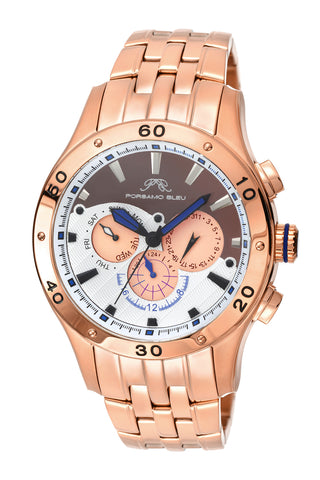 Porsamo Bleu, Andre luxury men's stainless steel watch, rose, brown 222CANS