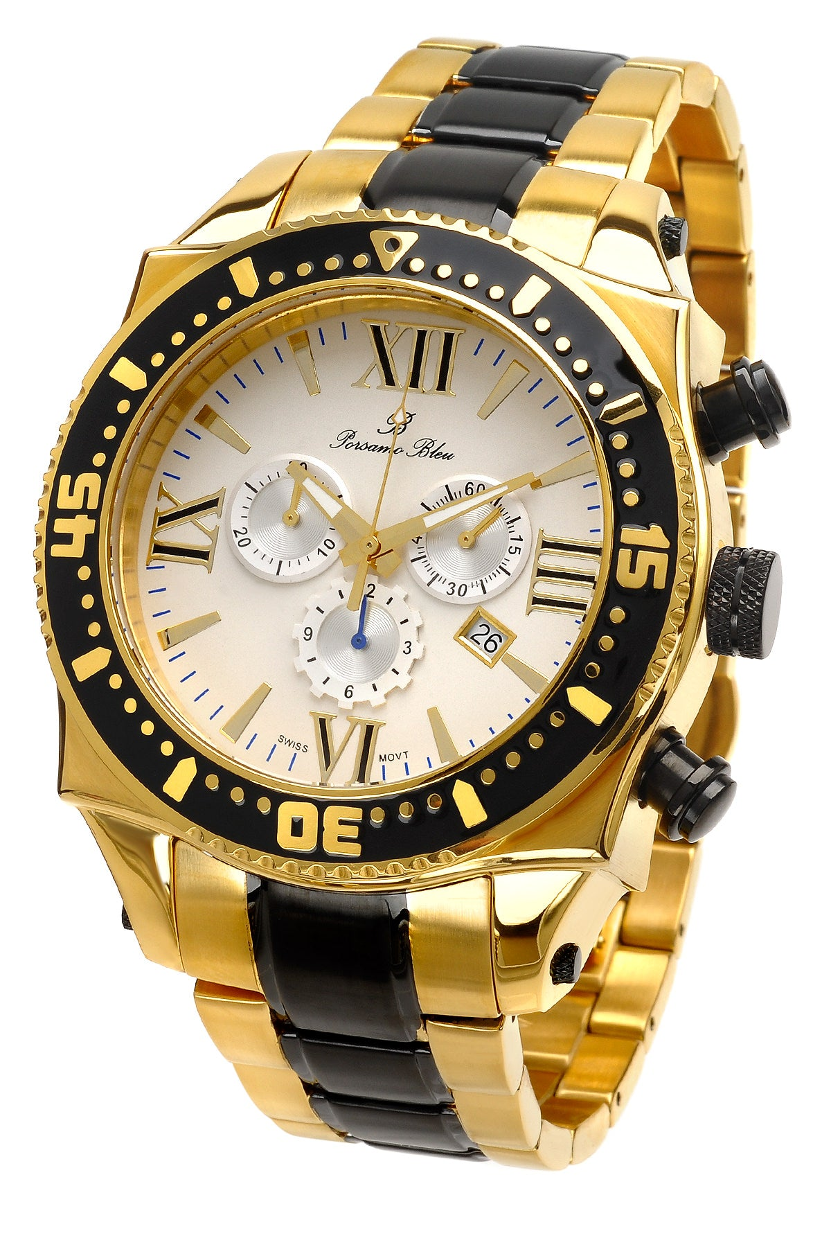 Porsamo Bleu Milan G luxury chronograph men's stainless steel watch, gold, black 072CMIS