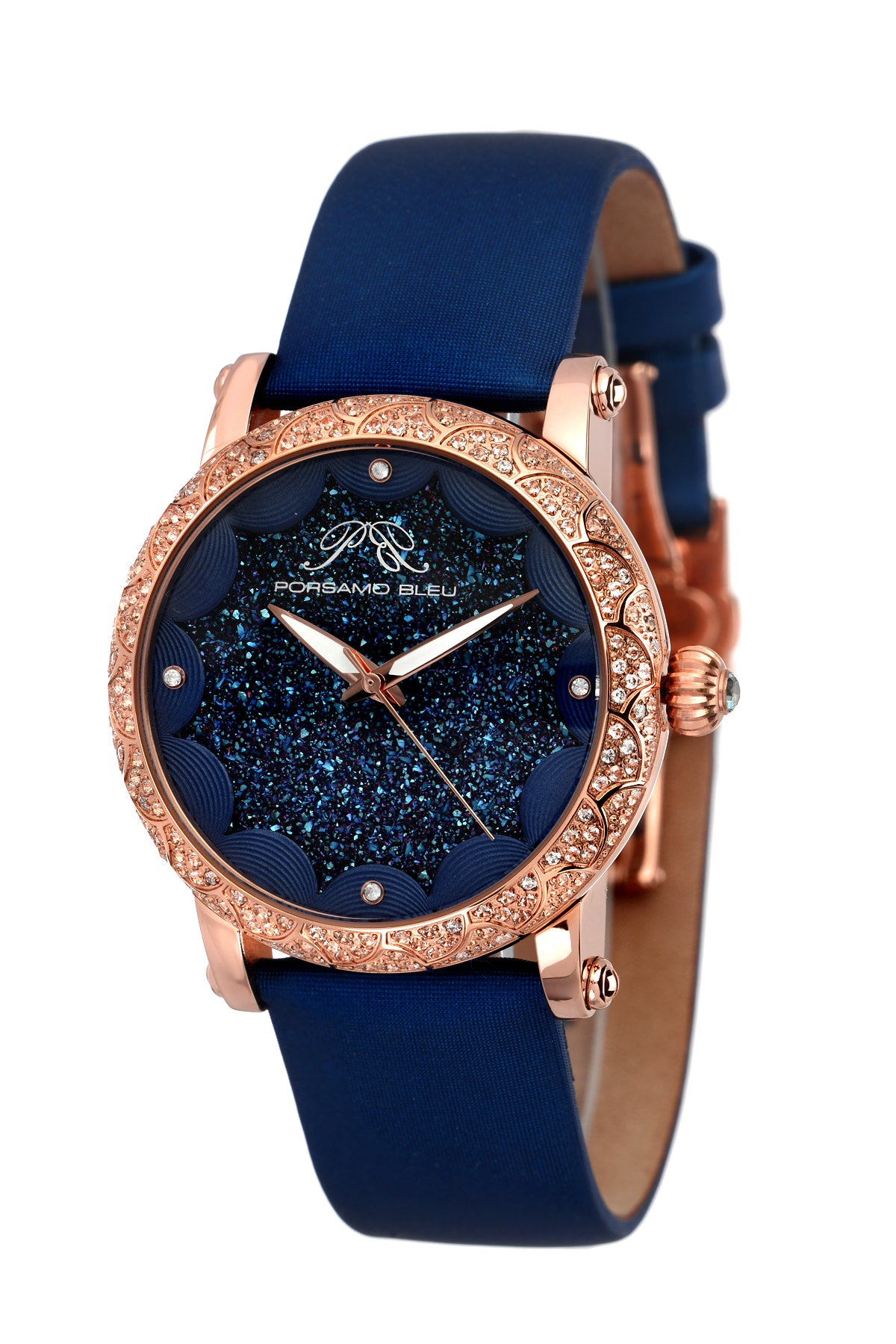 Porsamo Bleu Genevieve luxury topaz women's watch, satin leather watch, rose, blue 682CGEL