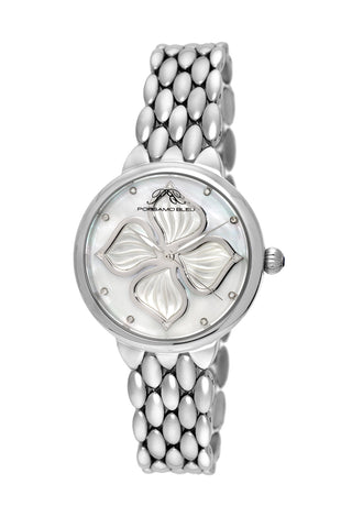 Porsamo Bleu Blair luxury diamond women's stainless steel watch, silver, white 711ABLS