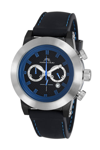 Porsamo Bleu Finley luxury chronograph men's watch, silicone strap, silver, black, blue 402DFIR