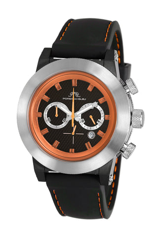 Porsamo Bleu Finley luxury chronograph men's watch, silicone strap, silver, black, orange 402BFIR
