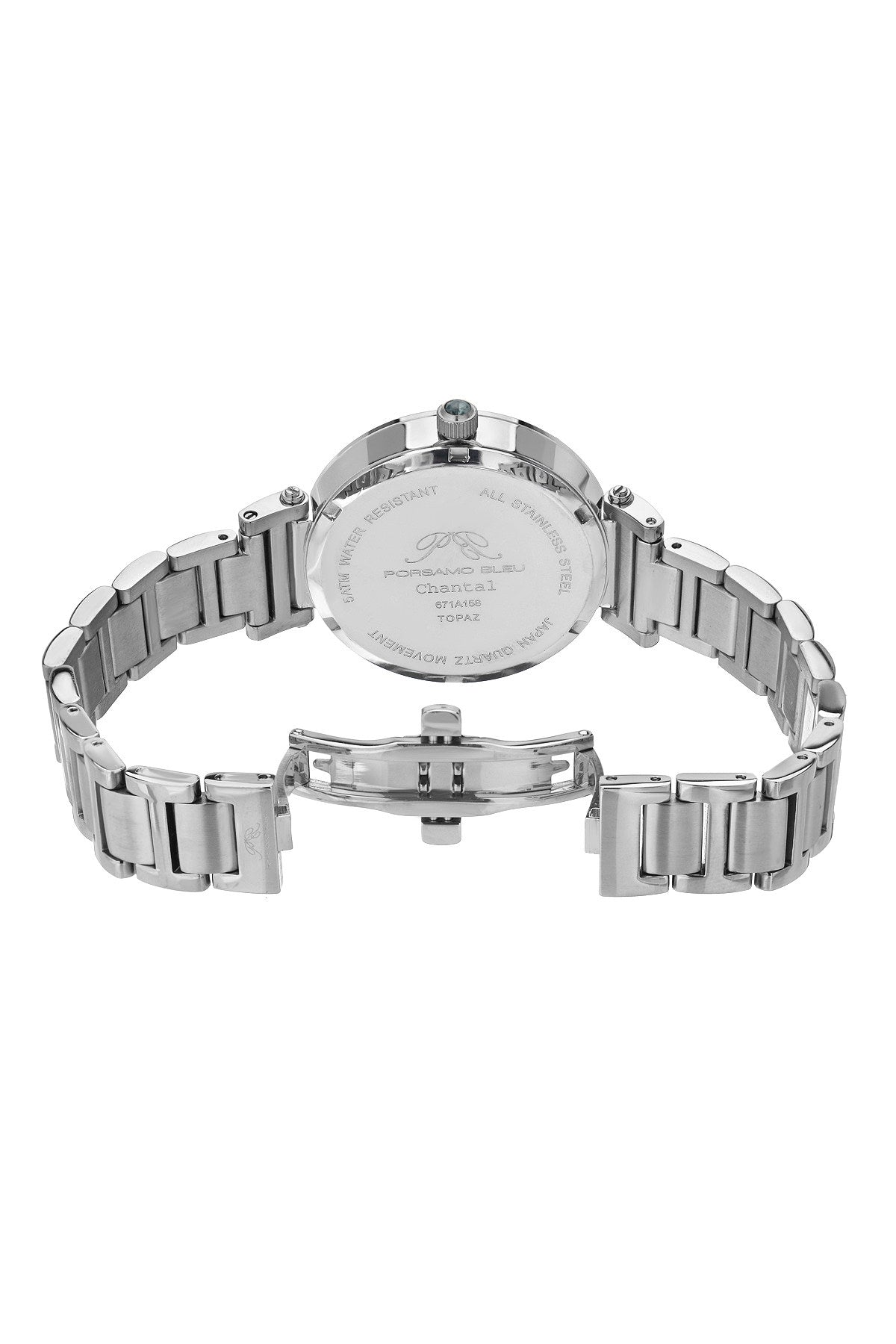 Porsamo Bleu Chantal luxury topaz women's stainless steel watch, silver, white 671ACHS